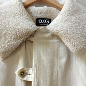 Dolce&Gabbana D&G Cream Soft Wool Collar 54 L/XL